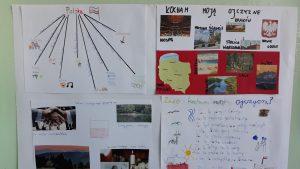 Zdjęcie przedstawia prace uczniów klas 4 na temat Za co kocham moją ojczyznę