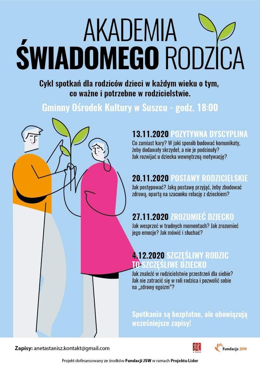 Zaproszenie na cykl spotkań dla rodziców w Gminnym Ośrodku Kultury w Suszcu