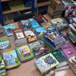 Zdjęcie przedstawia książki w bibliotece szkolnej