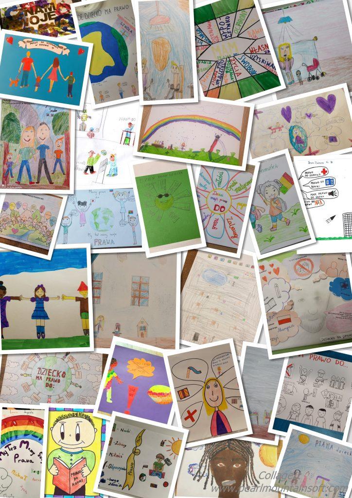 Kolaż przedstawia prace nadesłane na konkurs ogłoszony przez Samorząd Uczniowski pod tytułem Dzień Praw Dziecka. Dzieci mają swoje prawa