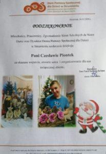 Podziękowanie za świąteczną zbiórkę od DPS w Strumieniu