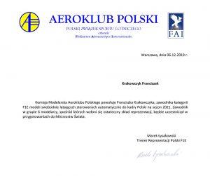 Powołanie Franka Krakowczyka do kadry Polski na sezon 2021 w kategorii F1E modeli swobodnie latających sterowanych automatycznie