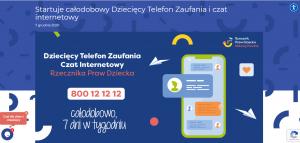 Zdjęcie pochodzi ze strony rzecznika praw dziecka i przedstawia informacje na temat darmowego, całodobowego, działającego siedem dni w tygodniu dziecięcego telefonu zaufania 800121212 oraz darmowego czatu, z którego można skorzystać na stronie internetowej rzecznika brpd.gov.pl