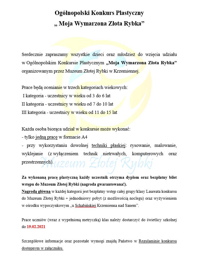 """Informacje na temat Konkursu Plastycznego """"Moja Wymarzona Złota Rybka"""""""