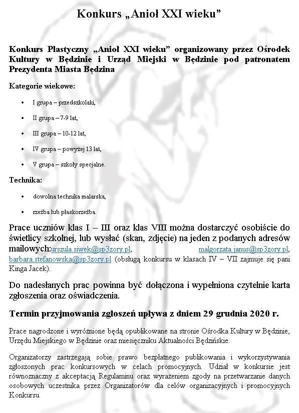 """Informacje na temat konkursu """"Anioł XXI"""" wieku"""