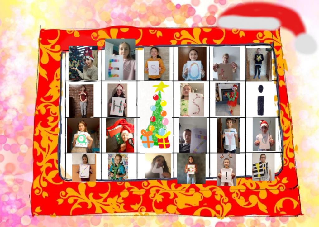 Zdjęcia uczniów klasy 4c, każde dziecko trzyma w ręku kartkę z jedną literą, z ktorych tworzy się napis Wesołych Świąt żyćzy 4c