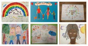 Kolaż przedstawia zwycięskie prace w konkursie ogłoszonym przez Samorząd Uczniowski pod tytułem Dzień Praw Dziecka. Dzieci mają swoje prawa