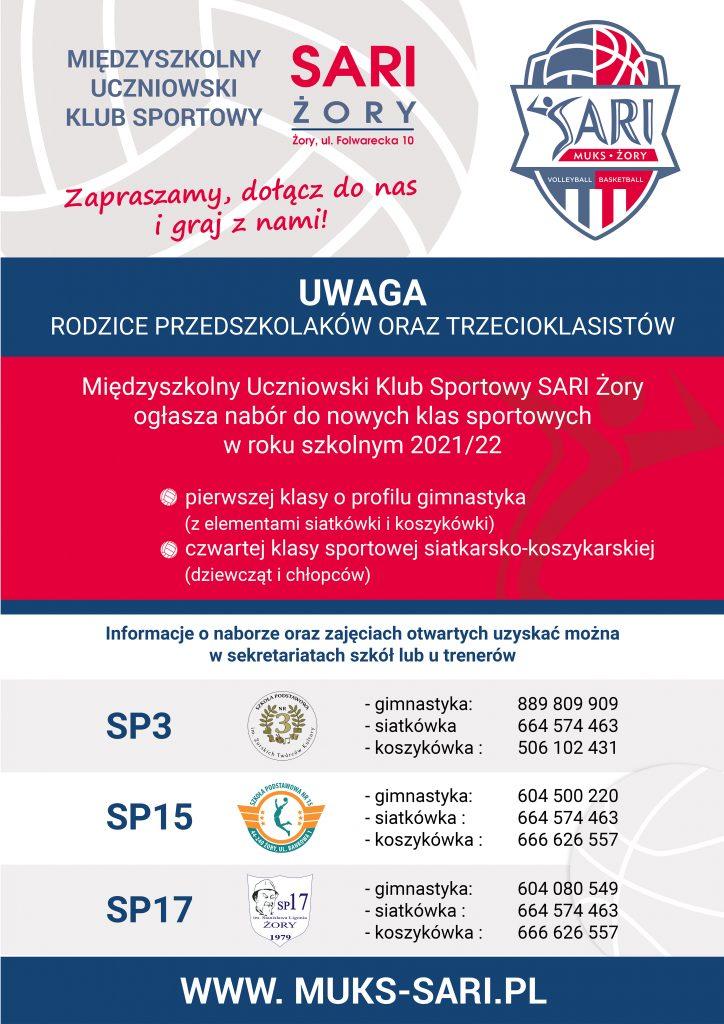 plakat naborowy międzyszkolnego uczniowskiego klubu sportowego SARI Żory, informacja o naborze do klas sportowych w roku szkolnym 2021/2022klubu