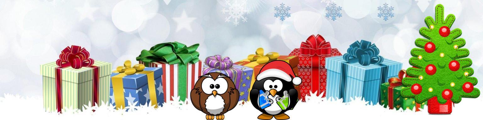 Świąteczny rysunek z prezentami i choinką