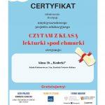 Potwierdzenie realizacji zadań-nadanie klasie 1b certyfikatu