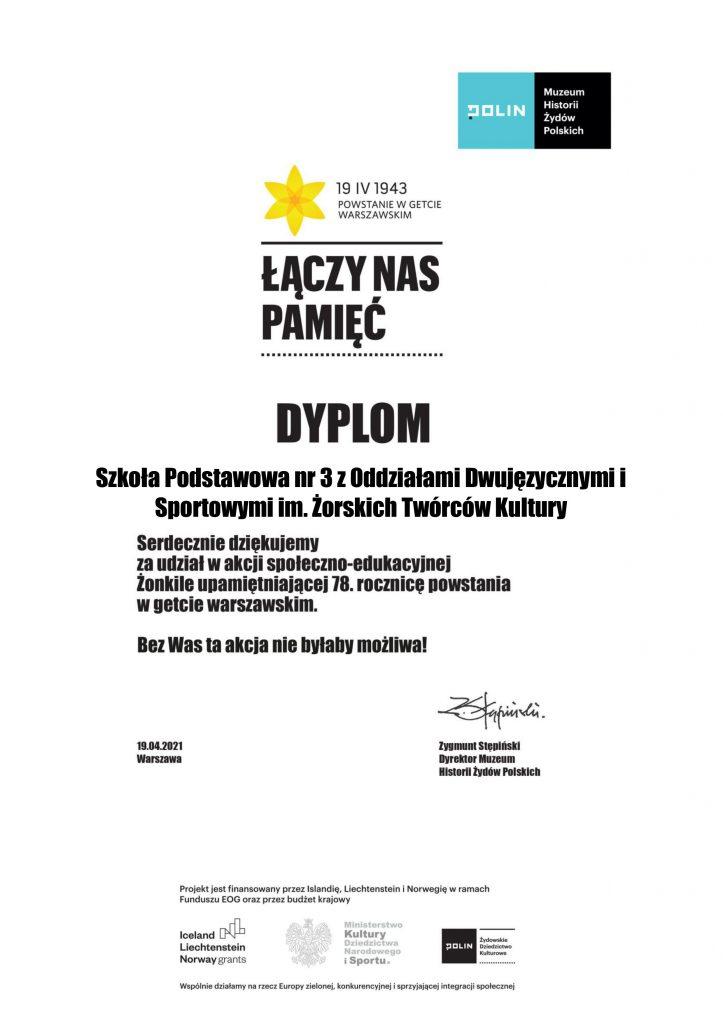 Dyplom za udział w akcji Zonkile
