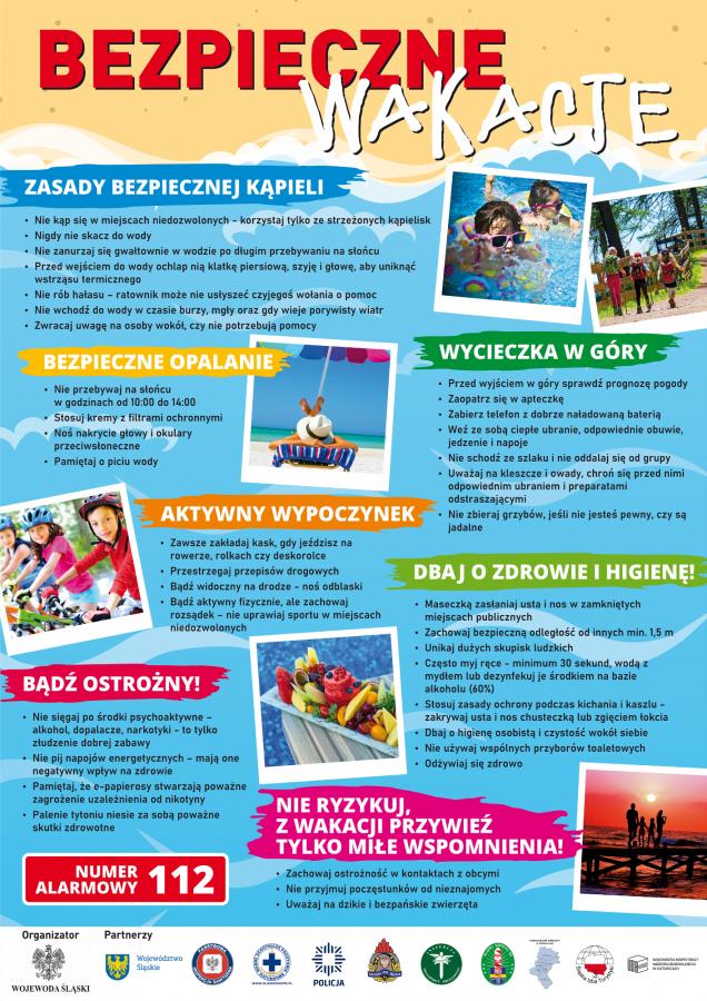 Plakat informujący o zasadach bezpiecznej kąpiei, bezpiecznego opalania, wycieczek w góry, aktywnego wypoczynku. Numer alarmowy 112